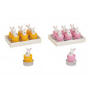 Tealight set bunny in egg 4x6x4cm wax pink / pink