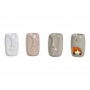 groothandel Huisgeuren/parfums: Keramische geurlamp gezicht wit, grijs, beige 3-