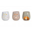 wholesale Fragrance Lamps: Fragrance lamp heart decor made of ceramic white,