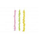 Ghirlanda di piume rosa / rosa, gialla, verde a 3