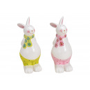 Lapin de Pâques en céramique jaune / rose 2- fois