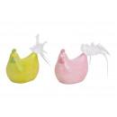 Pollo scintillante in ceramica giallo / rosa 2 vol