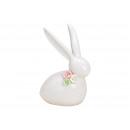 Coniglio con rose sul collo in porcellana bianca (