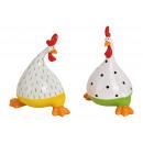 Pollo in ceramica verde / giallo 2- volte assortit