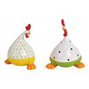 Pollo in ceramica verde / giallo (L / A / P) 11x13