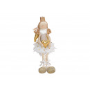 Edge stool angel with heart made of beige, gold te