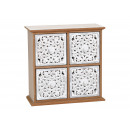 wholesale furniture: Cabinet floral pattern 4 drawers made of MDF white
