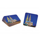 Wooden Coaster Set Cologne Colorful Set of 6, (B /