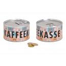 Salvadanaio tazza di caffè in metallo colorato (B