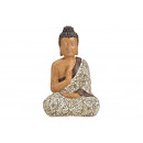 Buddha seduta in poli beige (L / A / P) 23x19x37 c