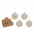 wholesale Home & Living: Christmas ball glitter made of glass silver 4-fold