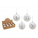 Christmas ball glitter made of glass white, silver