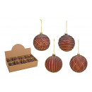 Christmas balls made of glass brown, gold 4-fold s