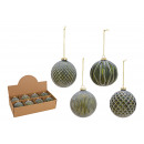 wholesale Decoration: Christmas balls made of glass green, gold 4-way so