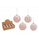 Palla di Natale glitterata in vetro rosa, argento