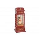 Pupazzo di neve cabina telefonica con illuminazion