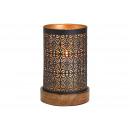 Lanterna su base di legno in metallo nero (L / A /