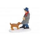 Miniatűr ember kutyával, poli-szürke (szélesség /