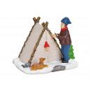 Tenda in miniatura nella neve realizzata in poli m
