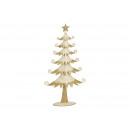 Albero di Natale in metallo bianco con glitter oro
