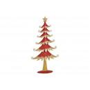 Albero di Natale in metallo rosso con glitter oro