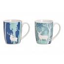 Mug winter forest decor made of porcelain turquois