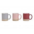 Triplo sor in ceramica, rosa, grigio