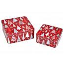 Set di latta Albero di Natale in metallo Rosso Set