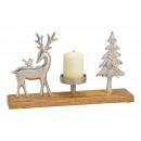Portacandele cervo, albero su base in legno di man