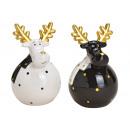 Alce in ceramica bianco, nero, dorato 2 volte sort