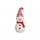 Bałwan ceramiczny biały, czerwony (S / W / D) 4x10