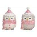 Gufo in ceramica bianco, rosa 2- volte assortito ,