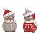 Ceramic owl red, gray 2- times assorted , (W / H /