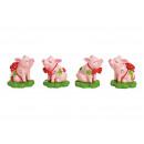 Maialino portafortuna in poli rosa / rosa 4- volte
