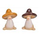 Ceramic mushroom brown 2- times assorted , (W / H