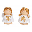 Angelo con cuore, stella realizzato in ceramica bi