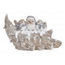 Winter bird on Christmas tree made of poly white (