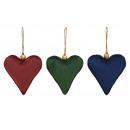 Cuore appendiabiti in tessuto bordeaux, verde, tri