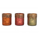 Lantern with metal edge made of glass brown, pink,