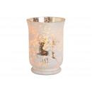Decorazione natalizia a lanterna in vetro bianco (