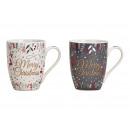 grossiste Tasses & Mugs: Tasse joyeux Noël en porcelaine grise, blanche, g