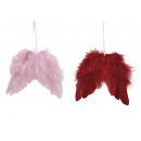 wholesale Home & Living: Hanging wing made of feather Bordeaux, pink 2 ...