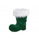 Stivali di Babbo Natale floccati di plastica verde