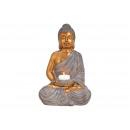 Buddha Portacandele in poli marrone, oro (L / A /