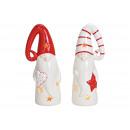 Lantern Santa Claus made of ceramic white, red dou
