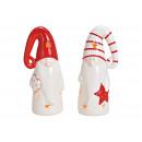 Lanterna Babbo Natale in ceramica bianca, doppia r