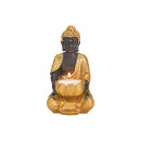 Tealight holder Buddha made of poly gold, black (W
