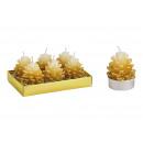 Tealight készlet fenyőtobozok 4x6x4cm viaszból 6