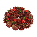 Christmas wreath made of wood, plastic red, gold (