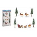 Set di miniature Babbo Natale, albero, alce 5-13 c